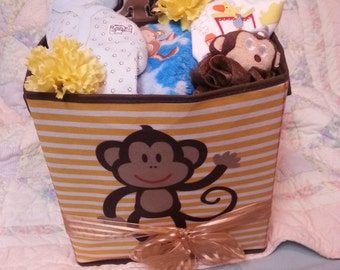 Monkey Diaper Cake/Care Package