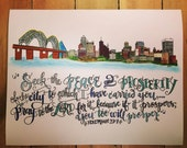 Memphis Skyline Print including Jeremiah 29:7 - hand drawn, Pray For Your City