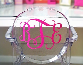 Large Decal Monogram Ghost Acrylic Chair 9.5 inches (height) Initials Vinyl Decor Party Dorm Wedding Office