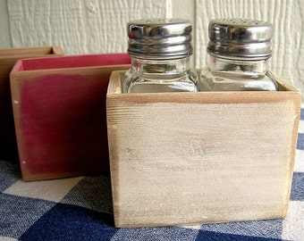 Wood Salt and Pepper Shaker Holder - Painted, Distressed