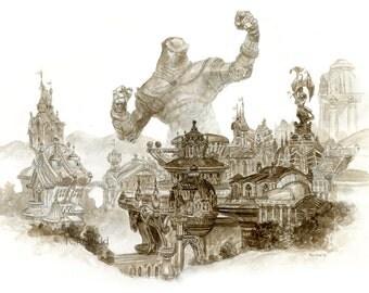 Robot Menace (watercolor), science fiction art, Tom Kidd