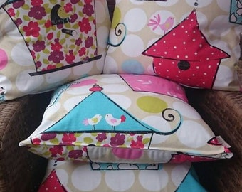 Set of Colorful summery bird house design cushions with inners