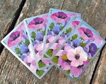 Vintage Playing Cards Purple Flowers (5) Single Swap Cards Vintage Craft Vintage Ephemera Smash Book