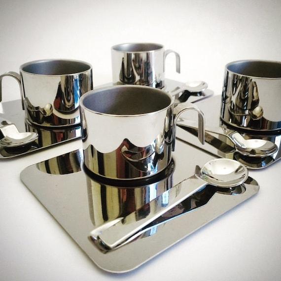 12-Piece Inox Italy Espresso Service in Stainless Steel, Inox 18-10, Italian Modernist Design