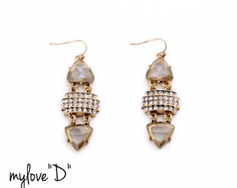 Statement Geometric Dangle Earring. Hanging Earrings.