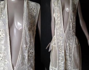 flapper dress made of edwardian fabric------------s/m