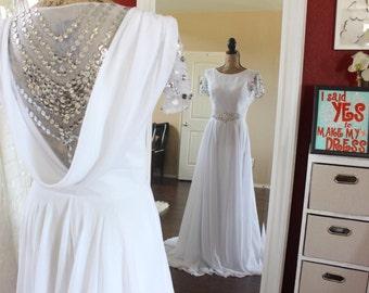 Gatsby Wedding Dress Chiffon Victorian Bridal Gown Aline Wedding Dress Goddess Glamour Dress Vintage Wedding Dress Beaded Gown