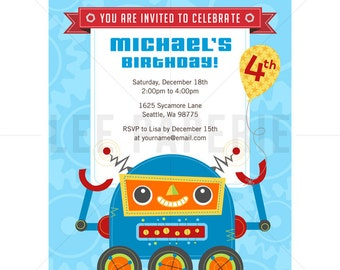 BBI007 - Robot Party Invite - Short Robot Birthday Invitation - Robot Birthday Party - 1st Birthday Invitation Boy - Robot Invitation