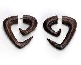 Tri Point Sono Wood Fake Gauges Spiral Earrings