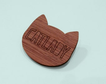 lasercut bamboo minimalistic Cat Lady brooch