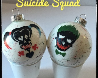 Harley Quinn and The Joker hand drawn and painted ornaments