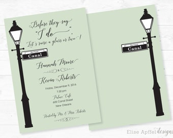New Orleans Street Lamp Wedding Rehearsal Dinner Invite, New Orleans  Invitation, Wedding Rehearsal,