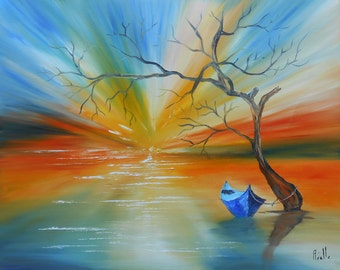 "Painting ""Sunset blue boat"""