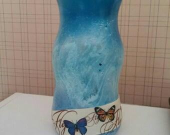 Teal Blue Vase/Blue Glass Vase/Handpainted Teal Vase/Upcycled Teal Vase/Wedding Gift/Teal Staging Vase/Wedding Gift/Housewarming Gift/Decor