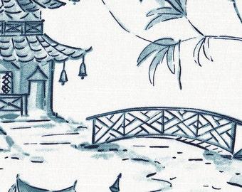 Sham Pagodas Seaside Blue Oriental Toile