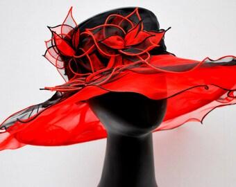 Kentucky Derby Hat, Organza Hat, Church hat, Tea Party Hat, Easter Hat, Church Hat, Derby Hat, Wedding Hat, Funeral Hat