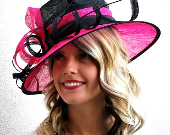 Derby Hat, Black Pink Church hat, Tea Party Hat, Derby Hat, Tea Party Hat, Fashion Hat, Church Hat, Derby Hat