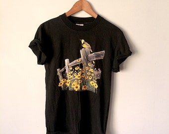 There's ALREADY A Bird On It Tee // Black Tshirt // Vintage 90s