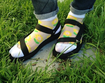 Transparent flowery socks