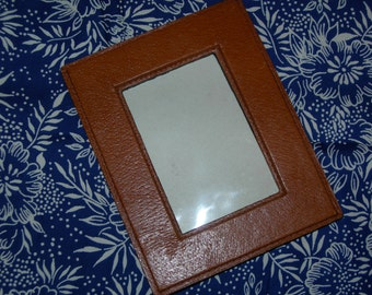 Vintage Cognac brown Leather Picture frame