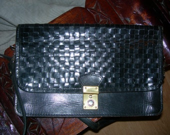 Black Real Leather Vintage Purse , Black leather Vintage clutch,Black Leather Vintage Handbag