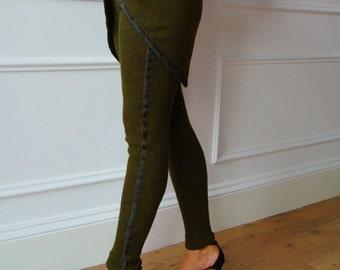 Leggings Green, leggings for autumn winter, Hendmaden, Italy style, leggings women