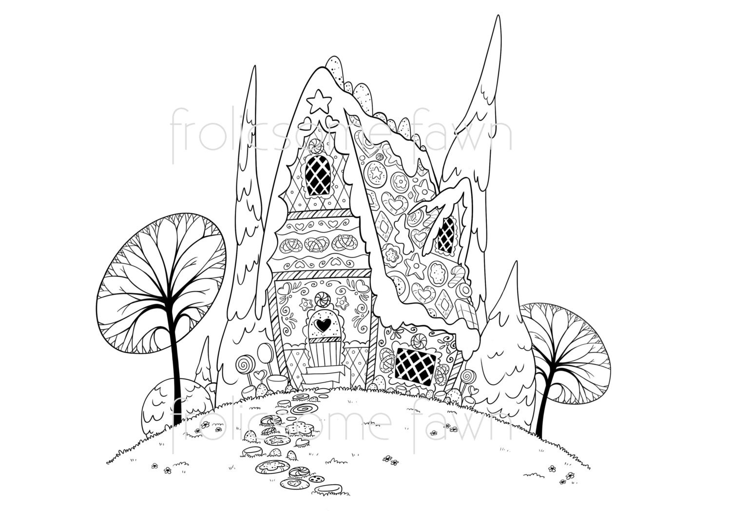 fairy tale coloring page for adults and children by frolicsomefawn. Black Bedroom Furniture Sets. Home Design Ideas