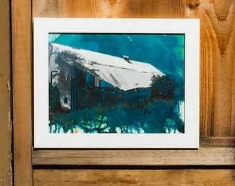 Barn, Ink, Black and White, Turquoise, Historic, Detailed, Old, Vibrant, Richmond, Original, Ink Splatter, Edgy, Modern