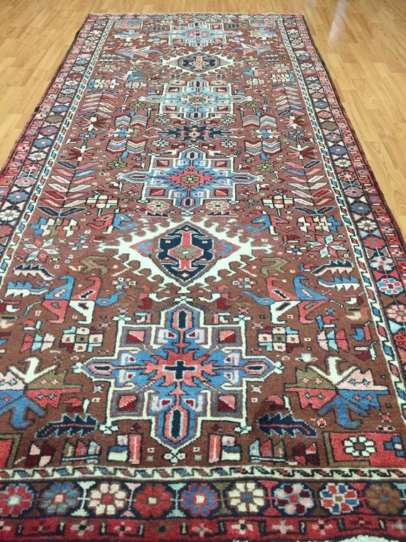 """3'10"""" x 8'8"""" Antique Persian Karajeh Floor Runner Oriental Rug - 1930s - Hand Made - 100% Wool - Vintage"""