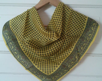 Yellow Menswear Print Bandanna with BONUS scarf pin // Gift set for her, bandanna and scarf clip