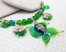 Necklace In the depths of the ocean Lampwork Murano glass Sea necklace Necklace with fish Lampwork necklace Beaded necklace Green necklace