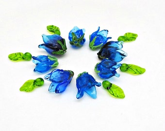 Set of the little Bells Lampwork beads bells Blue bells Glass bells Glass flowers Blue flowers Glass beads