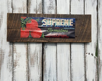 Reclaimed Barnwood Produce Sign - Tomatoes