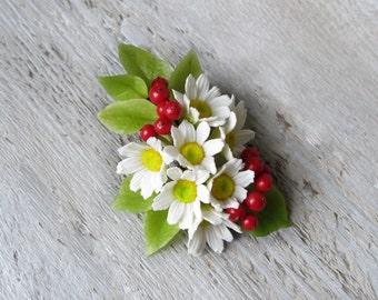 Daisy flower clip Small hair clip Girl hair clip Flower girl hair accessories Daisy wedding Red and white jewelry Summer hair clip Chamomile