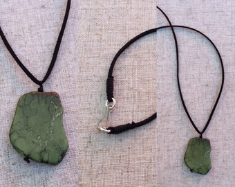 Howlite Nugget /leather Necklace RLW634