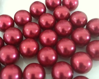 Vase Filler Pearls 18mm Cranberry Red pearls no holes 50pc for home decor, floral arrangement, candleplate decor