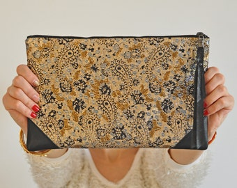 Evening Handbag, Jacquard Clutch,  Gold Clutch, Glamour Handbag