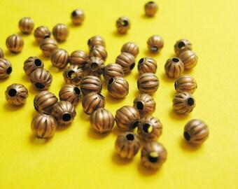 25 pieces - 5mm copper metal beads pumpkin