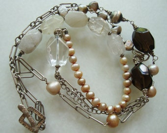 Silpada Signed, Sterling Silver, Fresh Water Pearls and Natural Gem Stones Retired Long Necklace.