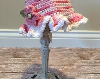 Crochet Sun Hat~ Baby Sun Hat~ Girl crochet Hat with flower~Cloche Sun Hat ~6-12 months~Ready To Ship