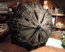 Victorian Child's Parasol / Black Silk And Ebony Wood / Antique Mourning Umbrella / Small Folding 1800's Umbrella