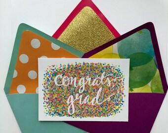 Congrats Grad Cards - Set of 5, Graduation Card, High School Graduation Card, Blank Graduation Card,  College Graduation Cards