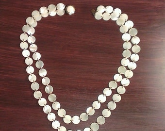 Vintage Mother of Pearl (MOP) Disc Necklace - Double Strand - Japan (1950s)