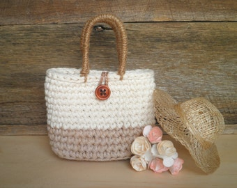 Miniature Tote Bag with a Button, Doll Bag, Small Crochet Bag, Shabby Chic Home Decor, Country Chic Bag, Gift for Women