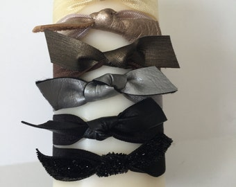 The Emmelie - Elastic Hair Tie with Faux Leather Bow