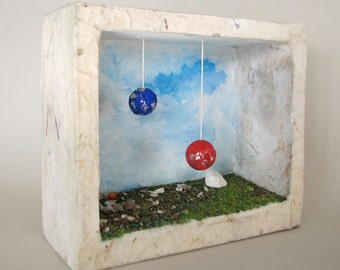 Diorama, found objects, wood box, wall sculpture, abstract sculpture, recycled art, wall decor, planets