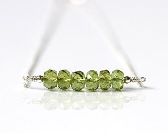Natural Peridot Necklace, Genuine Green Peridot Jewelry, Sterling Silver, Minimal Gemstone Bar Necklace, Festival Choker, August Birthstone