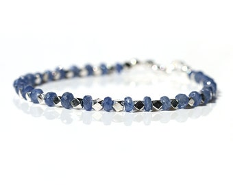 Stunning Burmese Sapphire Bracelet, Natural Blue Sapphire Jewelry, Sterling Silver Bead,Stacking Bracelet,September Birthstone,Gift for Her