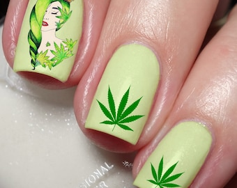 Weed leaf nails etsy cannabis nail art sticker water transfer decal 77 prinsesfo Image collections