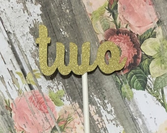 12 Gold Two Cupcake Toppers, Second Birthday Cupcake Topper, 2nd Birthday, Second Birthday, Second Birthday Party Decor, Gold Cupcake Topper